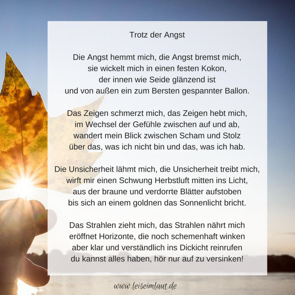Gedicht Angst Business Mut
