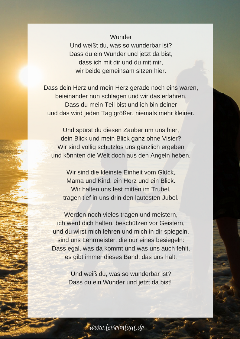 Gedicht Wunder Mutterliebe Mama und Kind