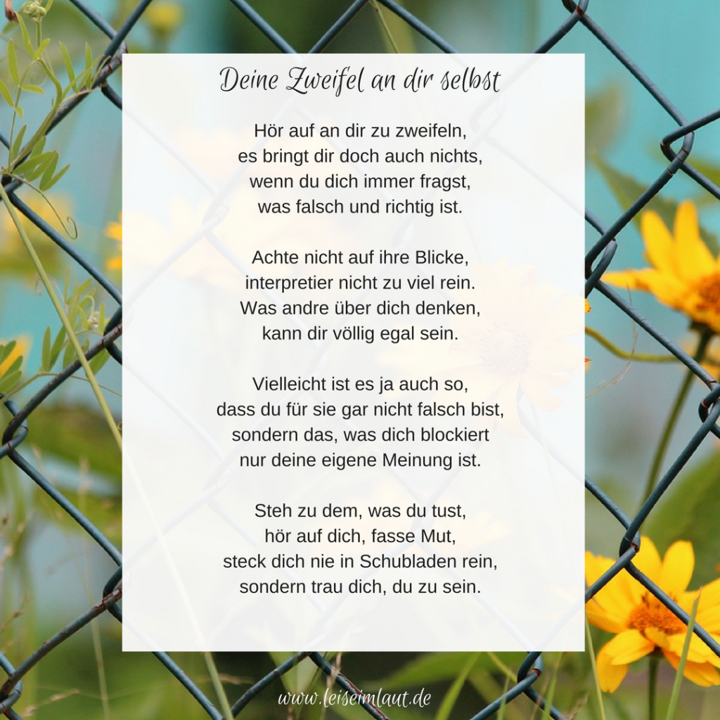Gedicht Selbstzweifel