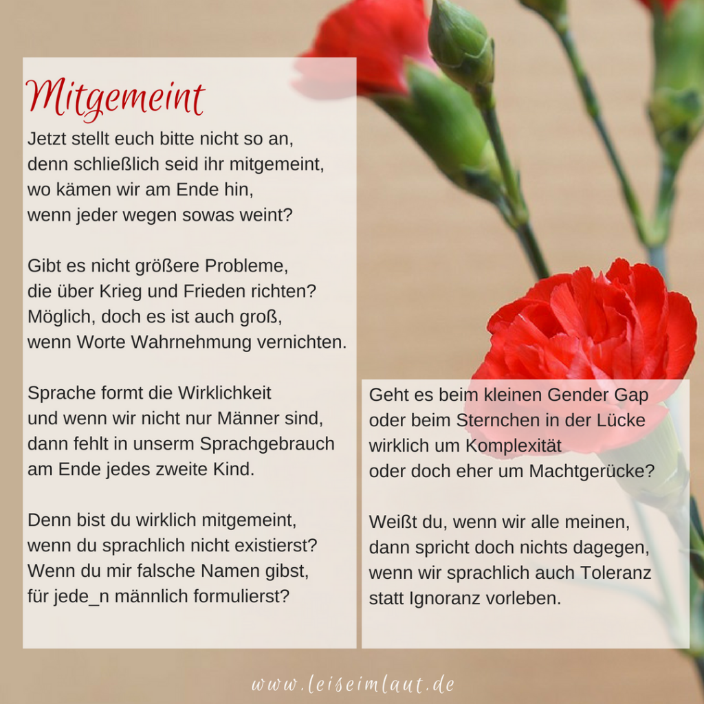 Gedicht, Muttertag, Gendergerechtigkeit, Gender Gap, Gender Star