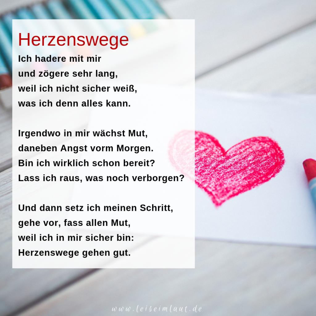 Gedicht Herzenswege Herzentscheidung